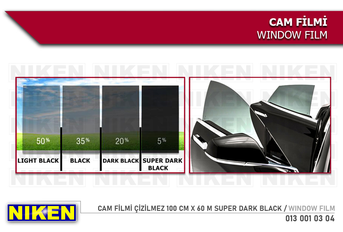 CAM FİLMİ ÇİZİLMEZ 100 CM X 60 M SUPER DARK BLACK