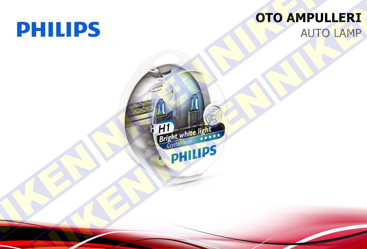 PHILIPS CRYSTAL VISION H1 12V 55W (MAVİ PARK AMPU