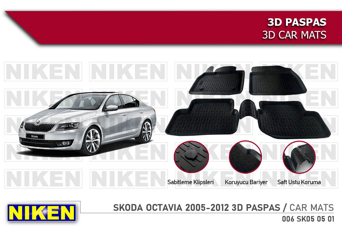 SKODA OCTAVIA 2005-2012 3D CAR MATS