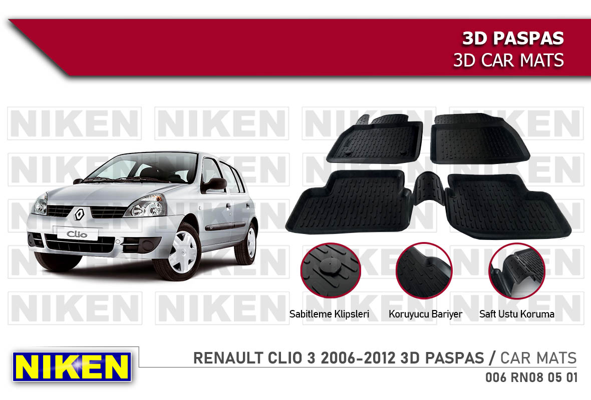 RENAULT CLIO 3 2006-2012 3D CAR MATS