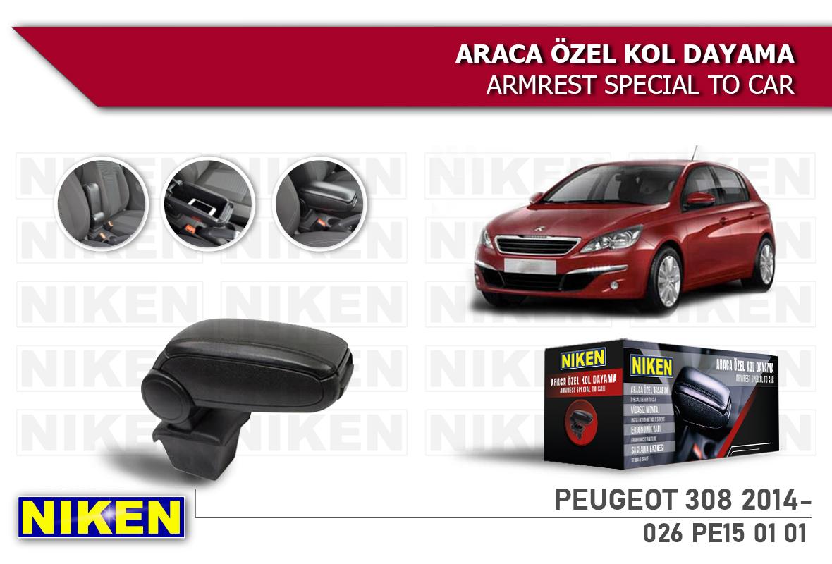 PEUGEOT 308 2014- ARACA ÖZEL KOL DAYAMA SİYAH