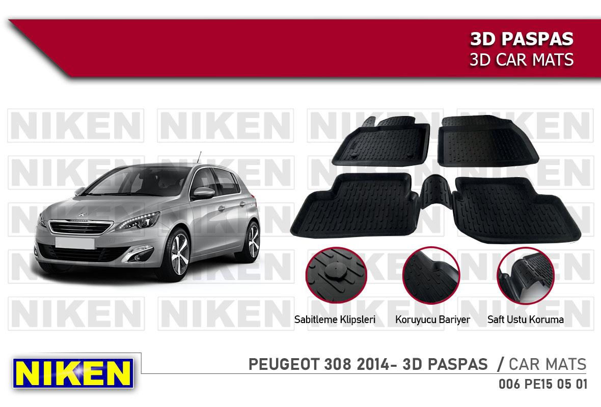 PEUGEOT 308 2014- 3D CAR MATS