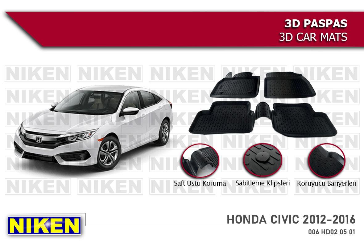 HONDA CIVIC 2012-2016 3D PASPAS