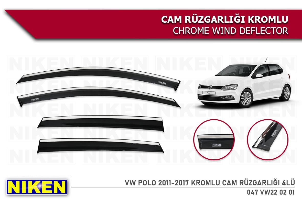 VW POLO 2011-2017 WIND DEFLECTOR W/ CHROME MOLDING 4LÜ