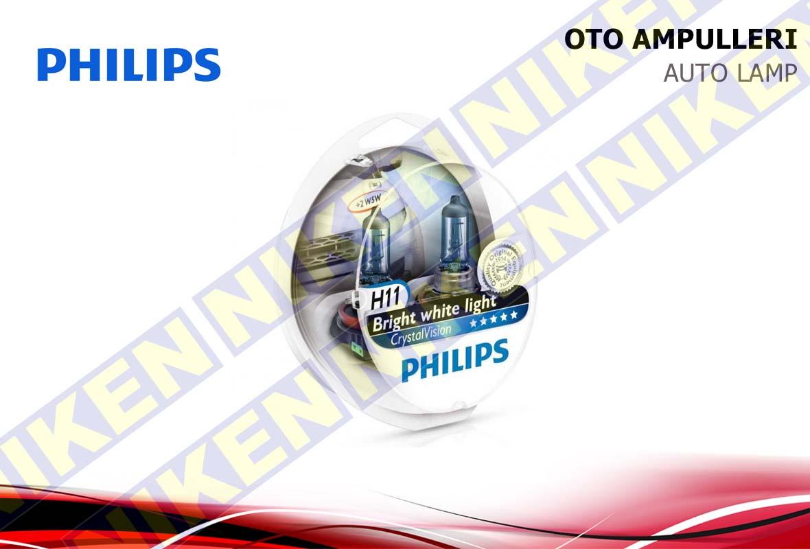 PHILIPS CRYSTAL VISION H11 12V 55W (MAVİ PARK AMPU