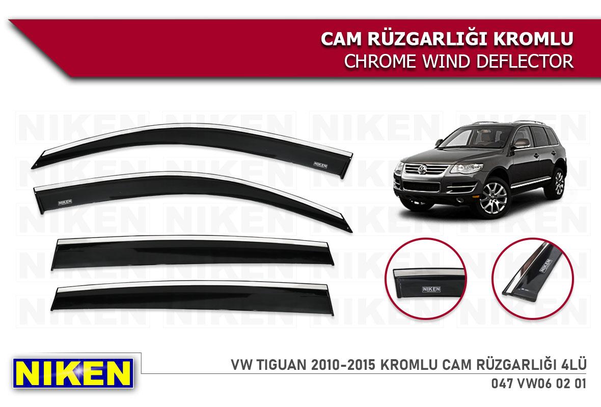 VW TIGUAN 2010-2015 WIND DEFLECTOR W/CHROME MOLDING 4LÜ