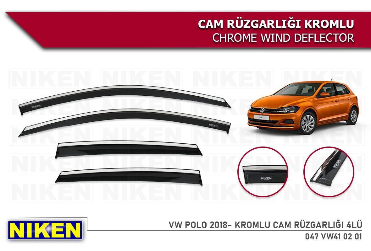 VW POLO 2018- WIND DEFLECTOR W/ CHROME MOLDING 4LÜ