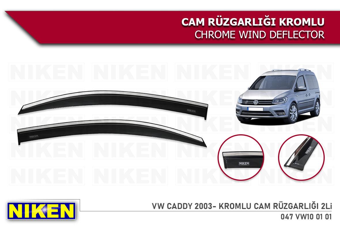 VW CADDY 2003- WIND DEFLECTOR W/CHROME MOLDING 2Li