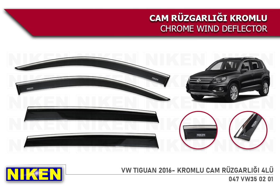 VW TIGUAN 2016- WIND DEFLECTOR W/CHROME MOLDING 4LÜ