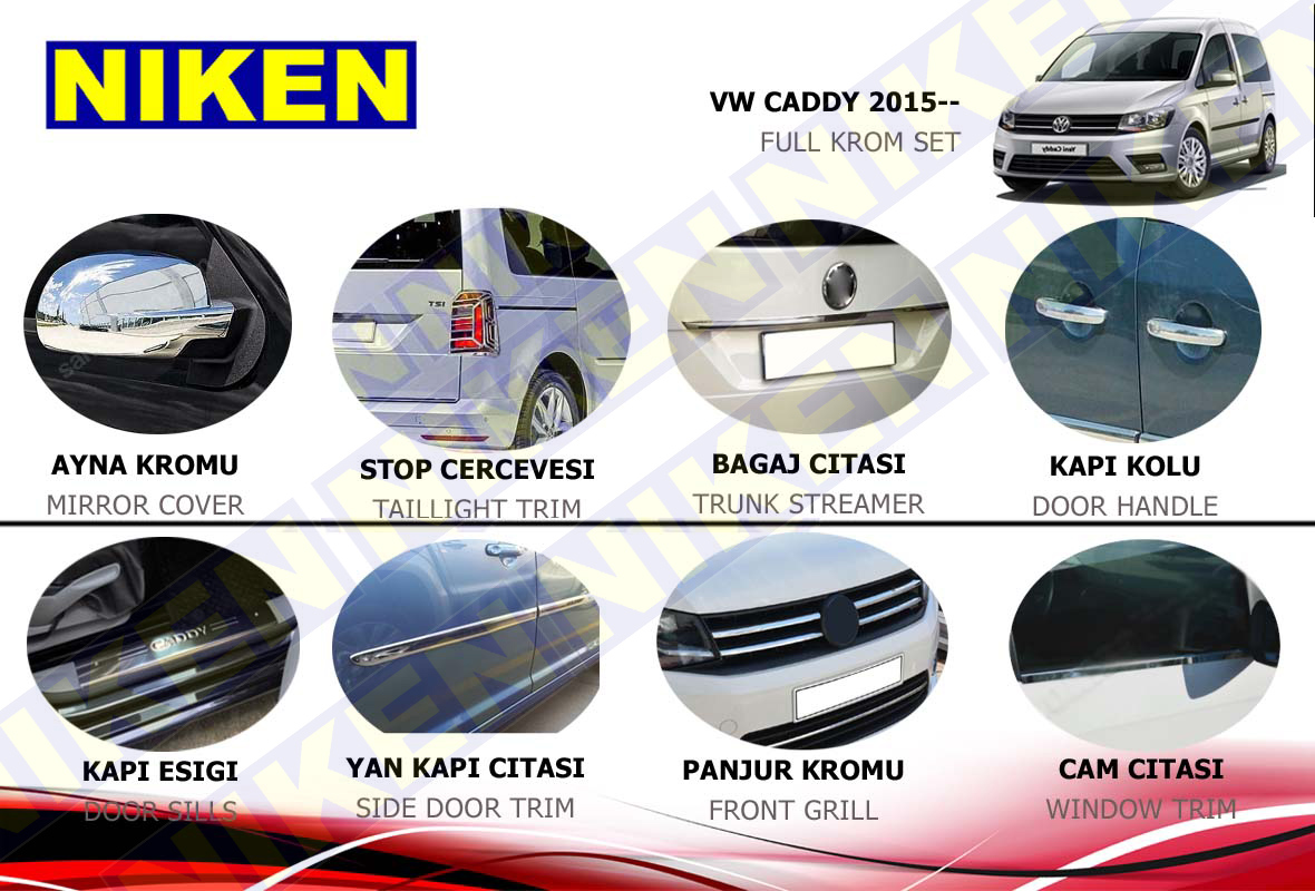 VOLKSWAGEN CADDY FULL KROM SET (2015-)