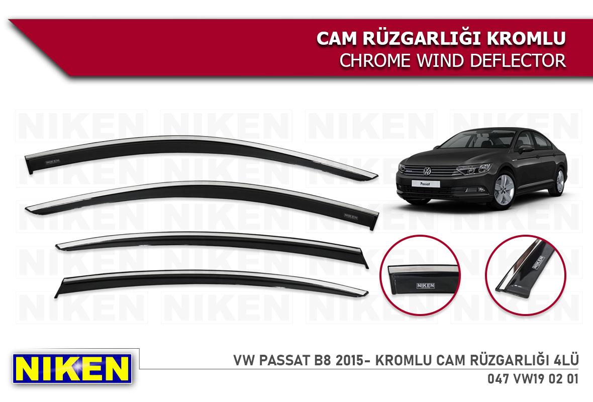 VW PASSAT B8 2015- WIND DEFLECTOR W/ CHROME MOLDING 4LÜ