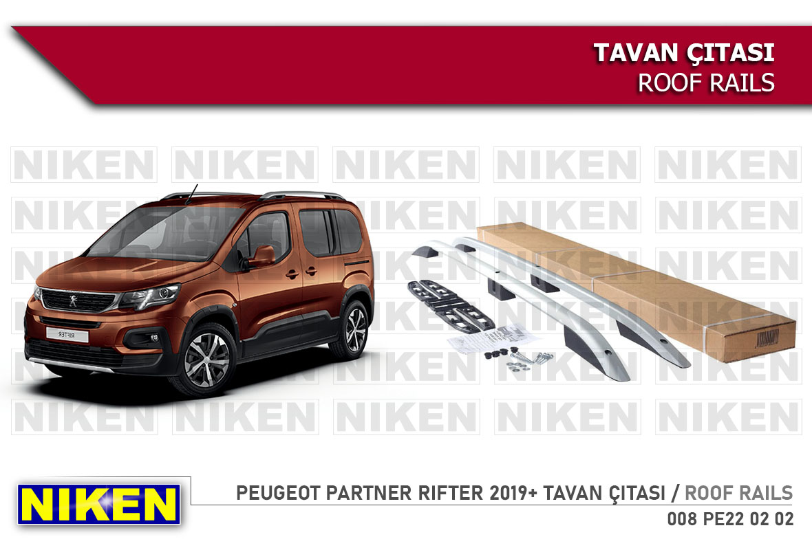 PEUGEOT PARTNER RIFTER 2019-ROOF RAILS UZUN  BLACK