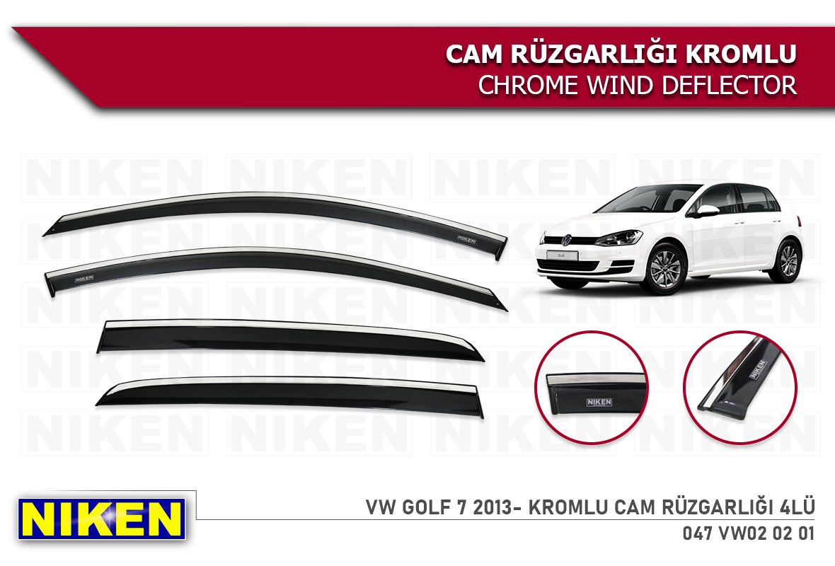 VW GOLF 7 2013- WIND DEFLECTOR W/ CHROME MOLDING 4LÜ
